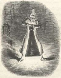 Ebenezer Scrooge in a 19th woodcut by John Leech.