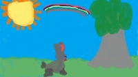 Child%27s drawing of a rabbit%2C a tree%2C and a rainbow - Happily Ever After?