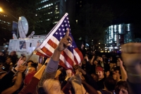 Crowds cheering Osama bin Laden's death.