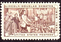 A Lincoln-Douglas debate commemorative stamp.