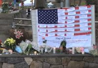 A memorial for victims of the Newtown shooting.