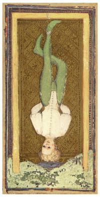 Visconti Sforza tarot deck. The Hanged Man - A self-indulgent lent